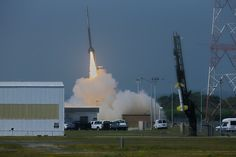 A NASA Black Brant V sounding rocket launches from the agency's Wallops Flight Facility on Wallops Island, Va., at 10:31:25 a.m. ET on July 4, 2013. The rocket was the first of two to launch in support of the Daytime Dynamo experiment.  The Terrier-Improved Orion (foreground) was launched 15 seconds later.