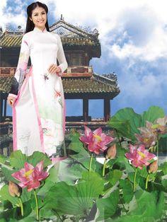 LOTUS LONG DRESS - HS057 Vietnam - the hidden charm   Long distance? Don't worry, we're shipping world wide!   By aodaihoanguyen.com