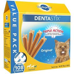 PEDIGREE DENTASTIX Toy/Small Dog Chew Treats, Original, (Pack of 108), Reduces Plaque and Tartar Buildup - PEDIGREE DENTASTIX Original Mini Treats for Dogs have a special chewy texture that helps clean between teeth and down to the gumline. These DENTASTIX Treats are clinically proven to reduce tartar buildup. Plus, our patented, X-shaped dental chews freshen breath while treating your dog to better o...