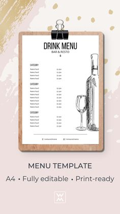 Menu template | Шаблон меню Menu Template, Templates, Menu Online, Restaurant Menu Design, Cocktail Menu, Drink Menu, Web Browser, Artworks, Cocktails