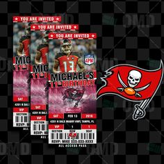 2.5x6 Tampa Bay Buccaneers Sports Party Invitation, Sports Tickets Invites, Football Birthday Theme Party Template by sportsinvites