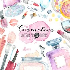 Makeup Cosmetics Watercolour. 57 Hand painted by OctopusArtis