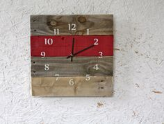 Reclaimed Wood Wall clock.  Pallet Wood with one color stripe. RED OR Choose Your Color.  Gift idea on Etsy, $47.59 CAD