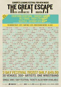 The Great Escape 2013 The Midnight Beast, Billy Bragg, Brighton Uk, The Great Escape, Get Excited, Bastille, Lineup, New Music, Flyers