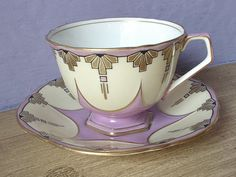 RARE antique art deco tea cup set, vintage 1930's Aynsley white and lilac tea cup and saucer with gold decoration