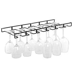 Wine Glass Holder Display Hanging Bar Shelf Wooden Under Cabinet ...