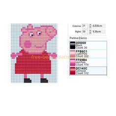 Peppa Pig, Crochet Mittens Free Pattern, Granny Square Crochet Pattern, Hama Beads Patterns, Beading Patterns, Fuse Beads, Perler Beads, Baby Patterns, Stitch Patterns