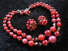 SALE Vintage Pink Red 2 Strand Beaded Necklace by MartiniMermaid