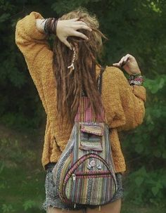 pretty girl rainbow fashion sweater shorts hippie style nature hippy dreads stripes dreadlocks dreadhead traveler hippylife
