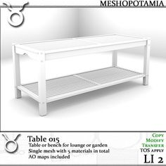 Table or bench for lounge or garden Single mesh with 5 material faces in total AO maps included Full perms, TOS apply **********************. Bench, Lounge, Storage, Table, Furniture, Home Decor, Airport Lounge, Purse Storage, Decoration Home