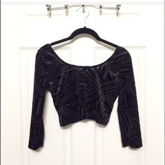 Crop top Not brand listed. Cute glamorous crop top. New without tags, never worn velveteen-like material on outer lining, polyester on the inside Sexy open/low back Sleeves are 3/4 sleeves on arms   Size S, good for XS or S, tight/sexy fitting. Nasty Gal Tops Crop Tops