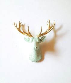 ICICLE BLUE Gold SMALL Faux Taxidermy Deer head wall mount wall hanging / animal head / home decor / faux taxidermie / stag head / nursery