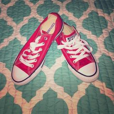Converse SALE! Red and white converse! Once worn once and are to small for me!!! They are a men's five but a 7 in women's! Converse Shoes Sneakers