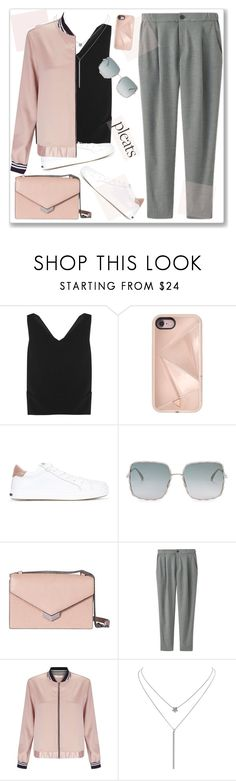 """""""Pleats"""" by nantucketteabook ❤ liked on Polyvore featuring Totême, Rebecca Minkoff, Dsquared2, Elie Saab, Jimmy Choo, Uniqlo, Miss Selfridge, Humble Chic and pleats"""