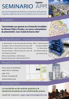 """SEMINARIO ANUAL APPI 2016  La Asociación Argentina de Profesores y Directores de Programas, Posgrados y Maestrías del Sector Inmobiliario de la Construcción invita a participar del """"Seminario Anual APPI 2016"""", a realizarse el día jueves 10 de noviembre en el CPAU de 9.15 a 13 horas.  Actividad gratuita. Requiere inscripción previa.  Más info: http://ly.cpau.org/2f1rvtH  #AgendaCPAU #ActualizaciónProfesional #Seminarios #RecomendadoARQ"""