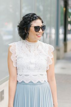 Three Different Way To Style A Lace Crop Top, pleated midi skirt, cult gaia ark bag Fashion Group, Curvy Fashion, Petite Fashion, Spring Summer Fashion, Spring Style, Fall Fashion, Style Fashion, Flannel Shirt Outfit, Pleated Midi Skirt