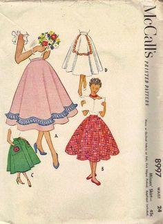 McCall's 1950s Sewing Pattern Rockabilly Swing Full Circle Skirt with Cummerbund Sash Waist 24 Poodle Skirt. $8.50, via Etsy.