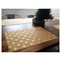 Holiday Gold Polka Dot Burlap Placemats (set of six) found on Polyvore