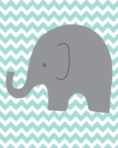 Elephant Chevron Wall print - but in lime green