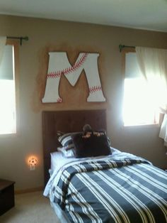 Baseball initial Mural above a boys bed. Love this idea for my little guys bedroom Konnor needs one of these!!!!