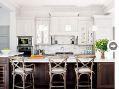 Long contrasting island, white cabinets