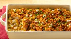 Ranch dressing and cream of celery soup offsets the spice from buffalo wing sauce in a satisfying, meat-and-potatoes casserole.