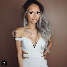 Ten Chopstics Wigs Fashion Two Tone Full Lace Human Hair Wigs Middle Part Gray Glueless Lace Front Wigs Ombre Human Hair Wigs For Black Woman Ombré Hair, Hair Weft, Wave Hair, Hair Updo, Big Curly Hair, Curly Hair Styles, Short Hair, Wig Hairstyles, Straight Hairstyles