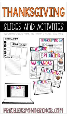 This is an easy to use resource to help your students learn about the first Thanksgiving. You can use the slides in powerpoint or download in Google Slides. Fun and engaging recording sheets are included!