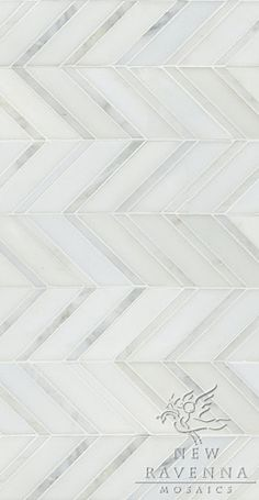Raj shown in Paperwhite honed and Statuary Carrara polished. New Ravenna Mosaics Floor Patterns, Tile Patterns, Embroidery Patterns, Mosaic Maker, Chevron Tile, Chevron Floor, Gray Tiles, Gray Chevron, Ravenna Mosaics