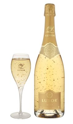 Luxor Brut Champagne a blend of Brut Champagne and food-grade 24-carat pure gold flakes.