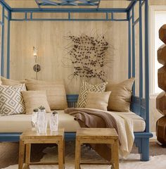 Excellent Full Size Daybed Designs: Tropical Living Room Asian Daybed Blue Color With Custom Pillows ~ buymyshitpile.com Bed Inspiration