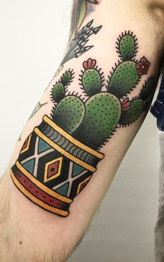 Cactus tat by Marina Goncharova at No Name Tattoo Shop in St. Petersburg, Russia