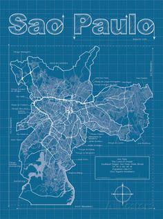 Sao Paulo Artistic Blueprint Map Poster por Christopher Estes na AllPosters.com.br