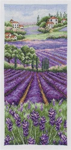 Provence Lavender Landscape Counted Cross Stitch Kit. Gorgeous.