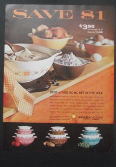 VINTAGE 1965 ADVERT Pyrex Tableware ~ Mom still has her blue set just like the one on the right!
