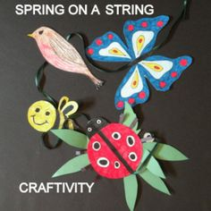 """http://www.teacherspayteachers.com/Product/Spring-on-a-String-and-easy-art-craftivity-1161280""""Spring on a String"""" and easy-art craftivity-patterns provided for primary level.  A fun spring art activity that can be completed easily in the classroom, home school, or art room. It provides a fun project for quiet, independent seat work."""