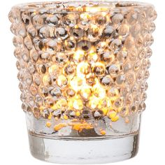 Vintage Glass Glass Candle Holder (2.5-Inch, Candace Design, Hobnail... ($4) ❤ liked on Polyvore featuring home, home decor, candles & candleholders, glass candle holders, glass tea light, vintage candlestick holders, glass tea lights and glass tealight