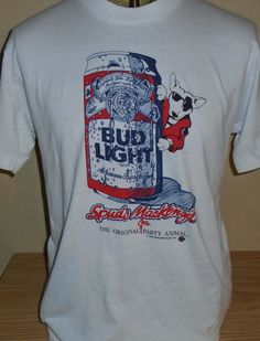 c2d2a8e26ac vintage 1980s Bud Light spuds Mackenzie t shirt Large by vintagerhino247 on  Etsy Bud Light