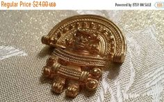25% OFF SALE Vintage Mayan High Priest Brooch Pin Gold Tone