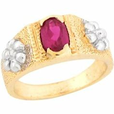 10k Two Tone Real Gold Synthetic Ruby Floral Newborn Baby Girl Ring Jewelry Liquidation. $118.41. Made in USA!. Made with Real 10k Gold!. Comes with FREE fancy black leatherette ring box!