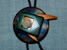 Space Man Bakelite and Copper Bolo Tie Braided Leather, Leather Cord, Old Ties, Repurposed, Artsy, Copper, Stars, Vintage, Old Neck Ties