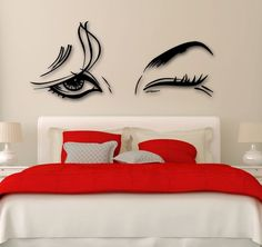 Vinyl Decal Beautiful Woman Beauty Salon Female Eye Makeup Sexy Girl Wall Stickers Unique Gift from Saved to Makeupp. Simple Wall Paintings, Creative Wall Painting, Creative Wall Decor, Wall Painting Decor, Diy Wall Decor, Home Decor, Creative Walls, Bedroom Wall Designs, Bedroom Decor
