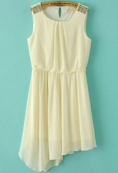 Beige Sleeveless Rhinestone Asymmetrical Pleated Dress 18.83