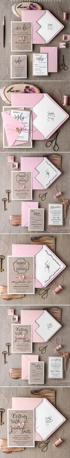 Pink & Eco Calligraphy Wedding Invitations, which are still on SALE ! #weddingideas #pink #eco #calligraphy #romanticwedding