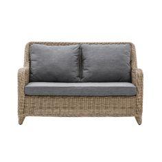 Rattan Furniture Set, Wicker Sofa, Home Furniture, Furniture Sets, Outdoor Furniture, Grey Cushions, Outdoor Chairs, Outdoor Decor, 2 Seater Sofa