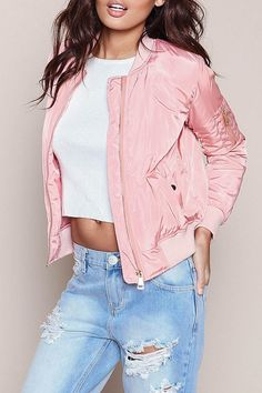 d15d23c7b 30 Best pink bomber jacket outfit images in 2019   Feminine fashion ...