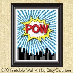 POW Comic Printable Wall Art. NEED!!! super hero b-day party by debra