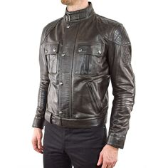 BELSTAFF BROOKLANDS MOJAVE LEATHER JACKET - BLACK BROWN  FRONT