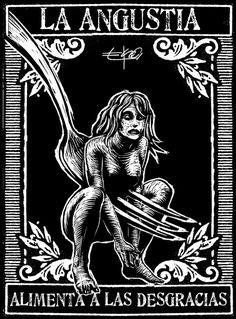 Aforismos EKO: diciembre 26 Arte Horror, Horror Art, Neon Sign Bedroom, Latino Art, Etching Prints, Deep Art, Occult Art, Political Art, Scratchboard