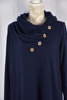 42 Pops Womens 3X Dark Navy Blue Long Sleeve Soft Sweater High Cowl Neck #42Pops #CowlNeck #Casual